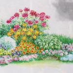 готовый цветник клумба